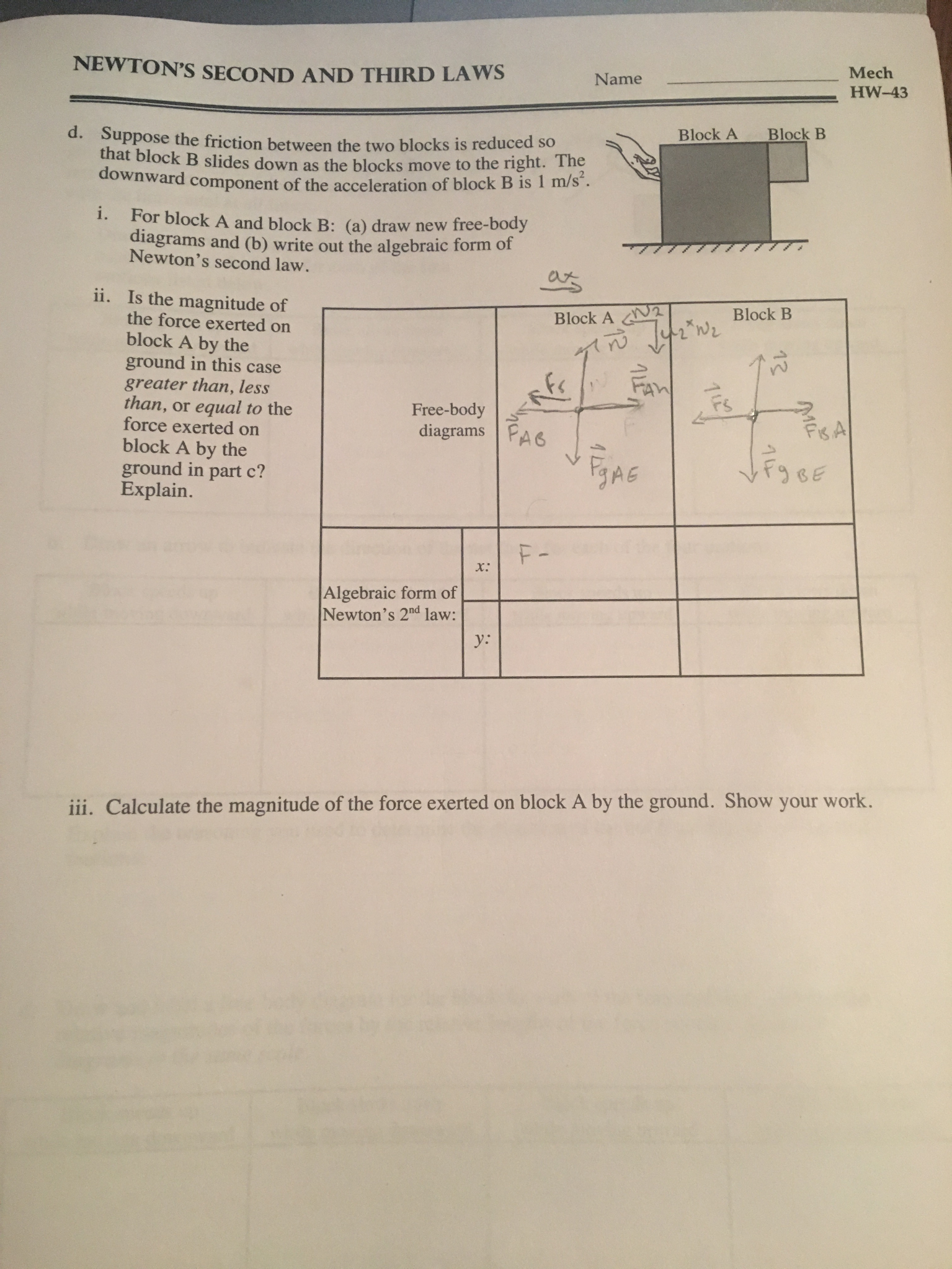 Solved Suppose The Friction Between Two Blocks Is Red Free Body Diagram Form A And Solve Question Reduced So That Block B Slides Down As