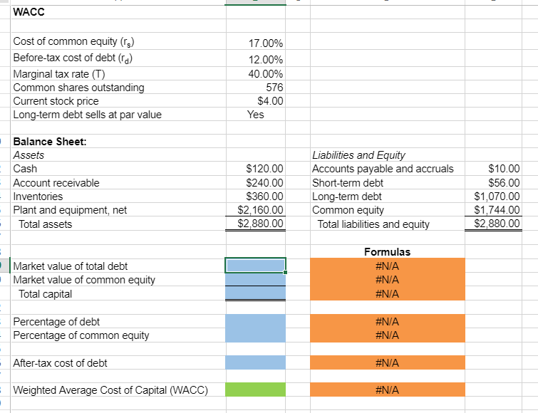 solved 1 excel online structured activity wacc the paul