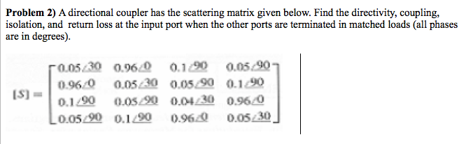 Solved: Problem 2) A Directional Coupler Has The Scatterin