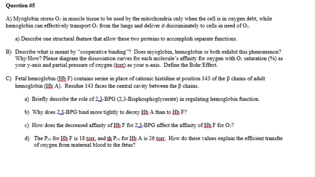 Question 5 A Myoglobin Stores O2 In Muscle Tissu Chegg