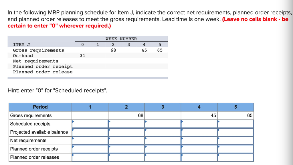 which of the following is the net requirement using an mrp program if the gross requirements is 10 0 Material requirements planning (mrp) is a computer-based inventory management system designed to assist production managers in scheduling and placing orders for items of dependent demand.