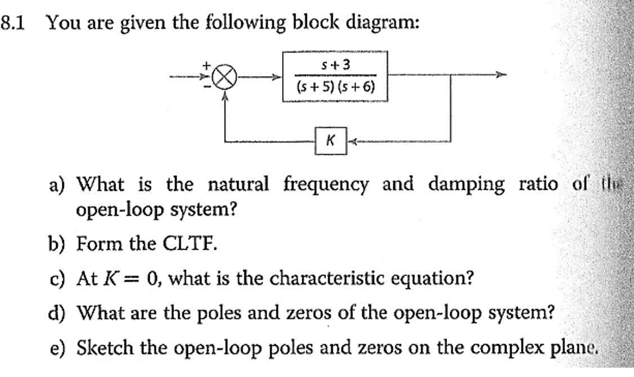 Question: You are given the following block diagram: What is the natural  frequency and damping ratio of th.