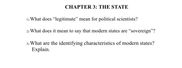 characteristics of the modern state