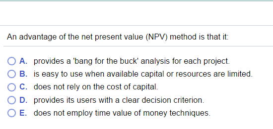 advantages of net present value