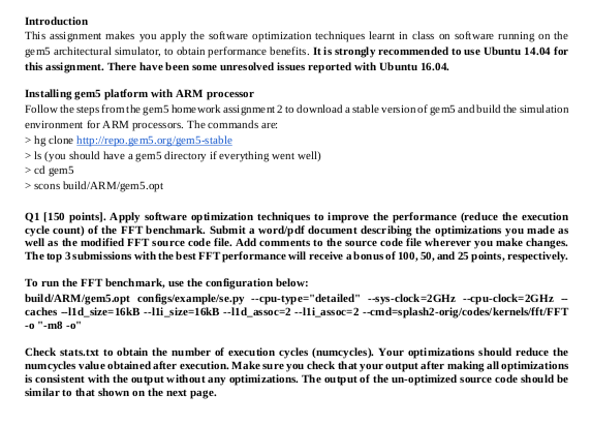 NOTE: Will Need Ubuntu To Install/run Gem5, So If