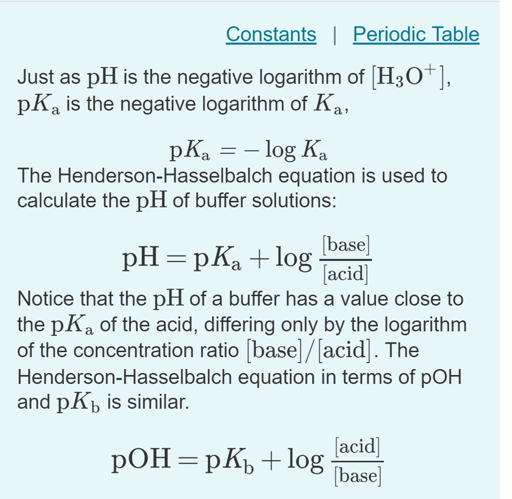 Solved Constants Periodic Table Just As Ph Is The Negati