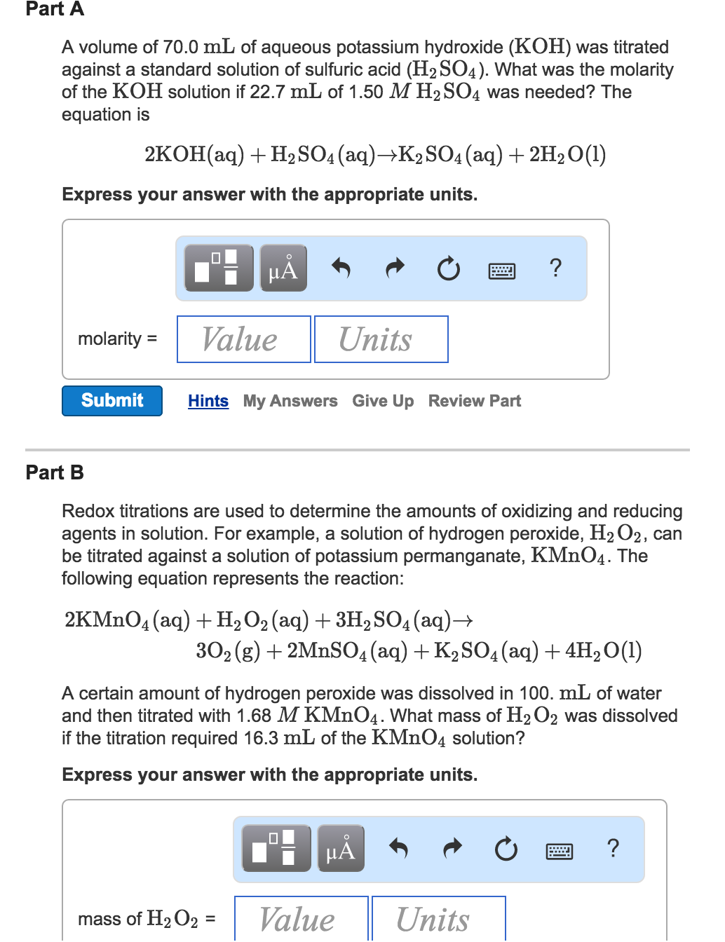 A Volume Of 700 Ml Of Aqueous Potassium Hydroxide