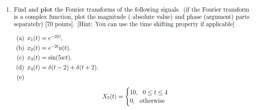 Solved: 1  Find And Plot The Fourier Transforms Of The Fol