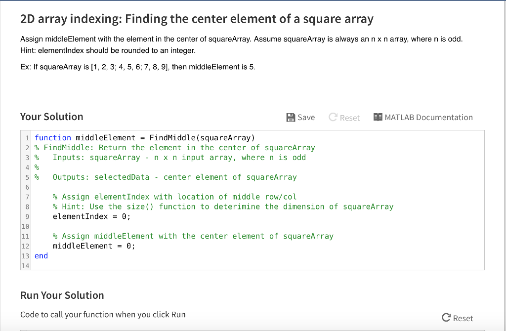 Solved: 2D Array Indexing: Finding The Center Element Of A