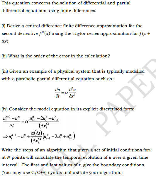 Solved: This Question Concerns The Solution Of Differentia
