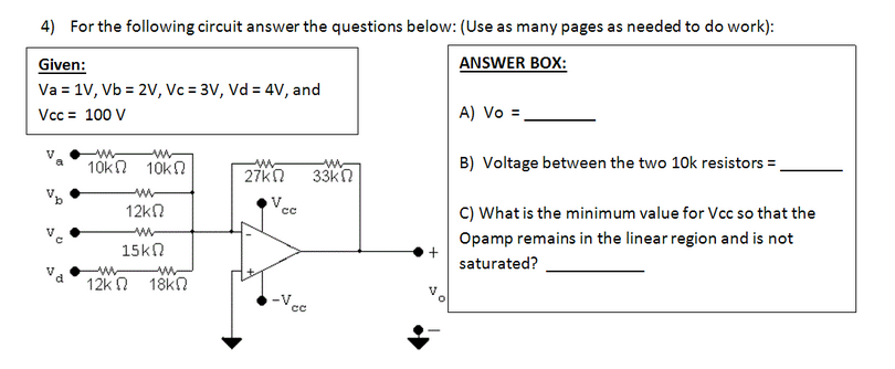 For the following circuit answer the questions bel