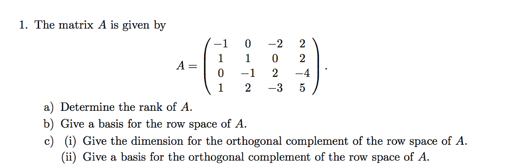 Solved: Give The Dimension For The Orthogonal Complement O