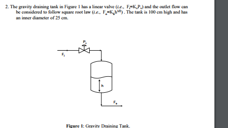2. The gravity draining tank in Figure 1 has a linear valve (Le., FFKP) and the outlet flow can be considered to follow square root law (i.e. F.^K^h2. The tank is 100 cm high and has an inner diameter of 25 cm. Figure 1: Gravity Draining Tank