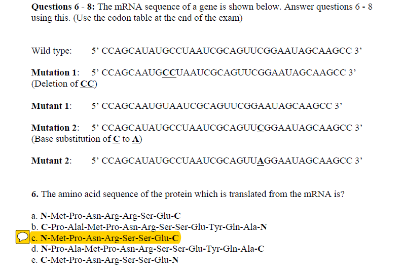 solved questions 6 8 the mrna sequence of a gene is sho