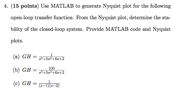 Solved: Use MATLAB To Generate Nyquist Plot For The Follow