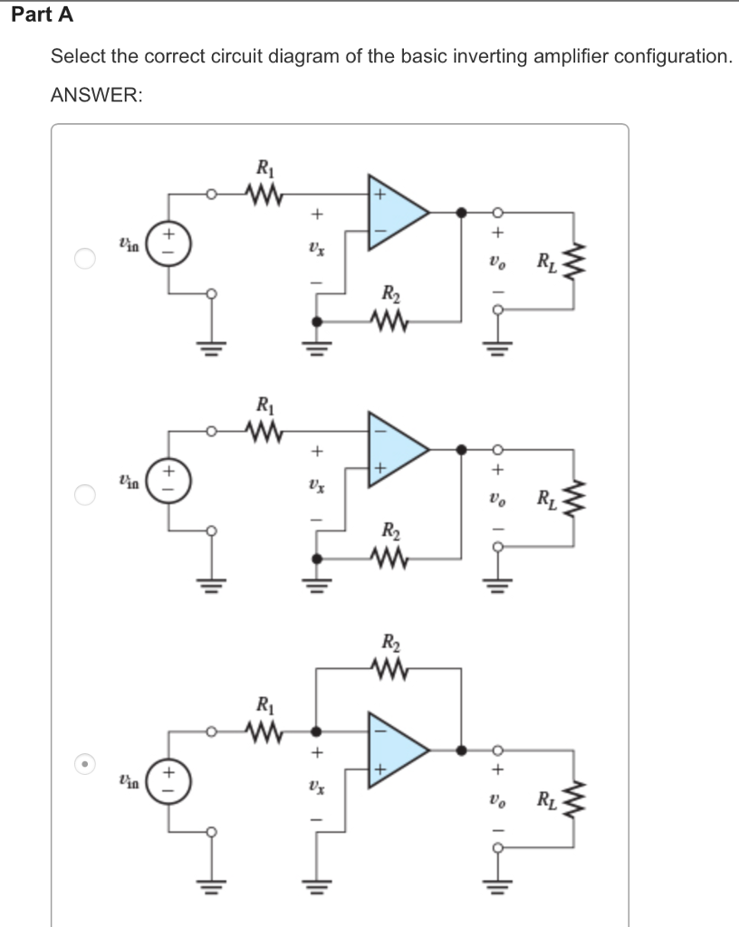 Solved Part A Select The Correct Circuit Diagram Of B Electric With Basic Inverting Amplifier Configuration Answer Lin Vo