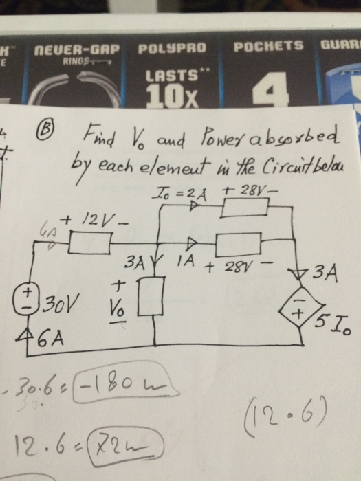 Find v_o and power by each element in the circuit