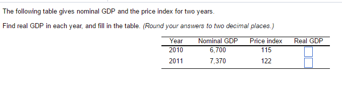 the following table gives nominal gdp and the price index for two years find real gdp