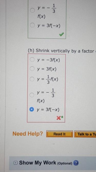 y 1 3 f x y 3f x h shrink vertically by chegg com