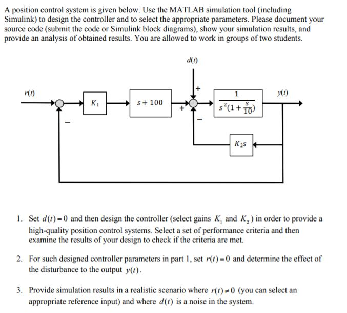 Solved a position control system is given below use the a position control system is given below use the matlab simulation tool including simulink ccuart Images