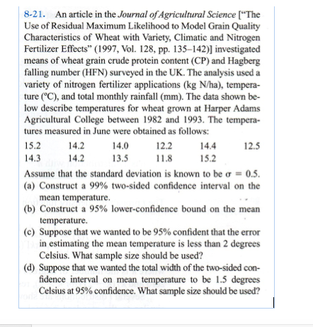 Solved: 8-21  An Article In The Journal Of Agricultural Sc