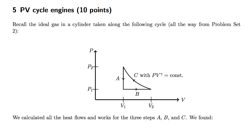 5 pv cycle engines (10 points) recall the ideal gas in a cylinder taken