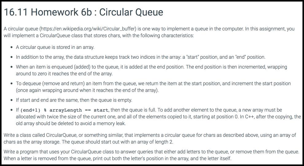 Solved: 16 11 Homework 6b: Circular Queue A Circular Queue
