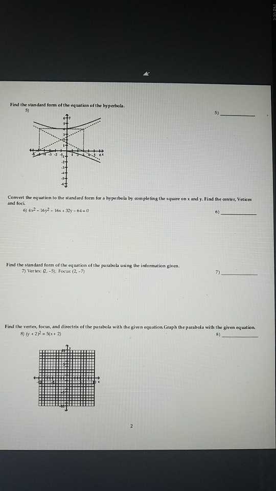 Solved Find The Standard Form Of The Equation Of The Hype