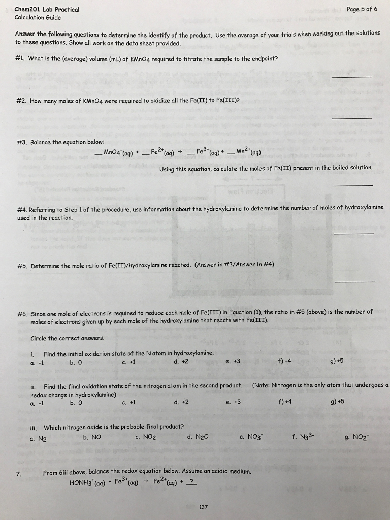 Solved: Stoichiometry Of Redox Reaction A Lab Practical Ch