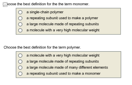 Solved Choose The Best Definition For The The Term Monome
