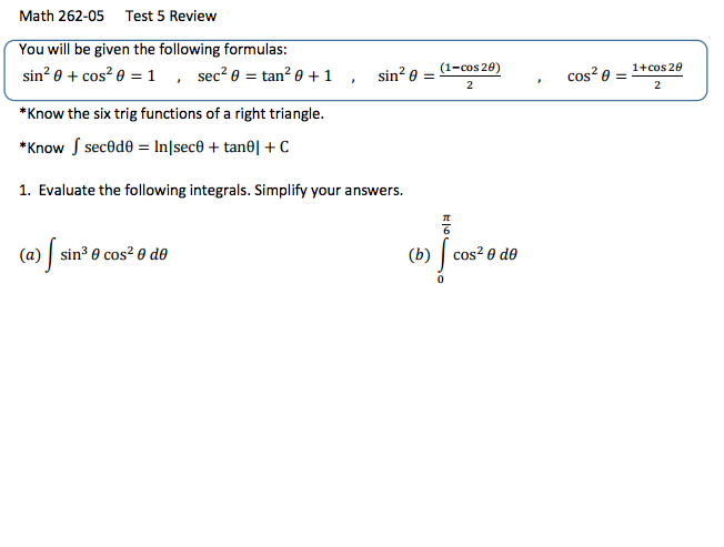 Solved You Will Be Given The Following Formulas Sin 2 Th Chegg Com