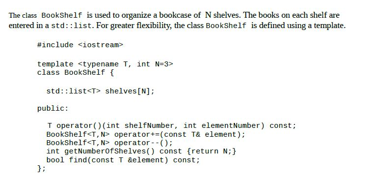 Question The Class BookShelf Does Not Contain A Default Constructor Copy Assignment Operator