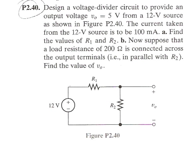 Design a voltage-divider circuit to provide an out