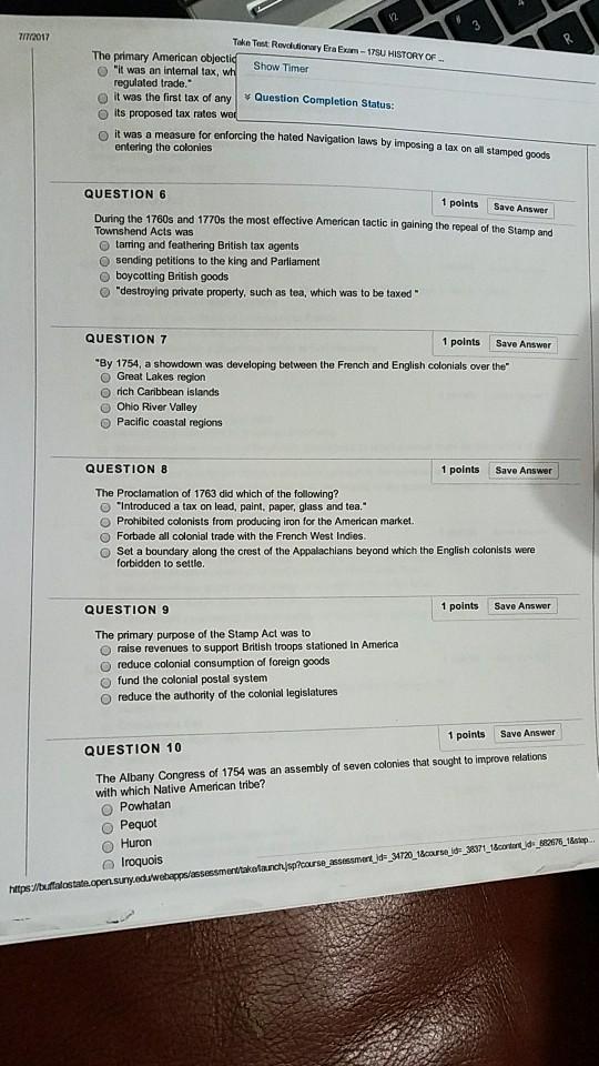 Solved: N201? Take Test Revdlutionay Era Exam-17SU HISTORY