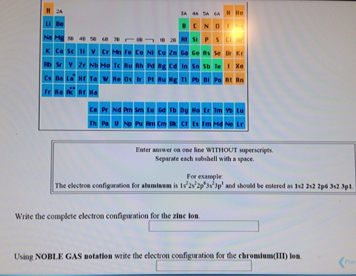 Write the complete electron configuration for the chegg question write the complete electron configuration for the zinc lou using noble gas notation write the el ccuart Images