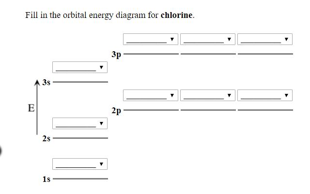 Solved Fill In The Orbital Energy Diagram For Chlorine 3