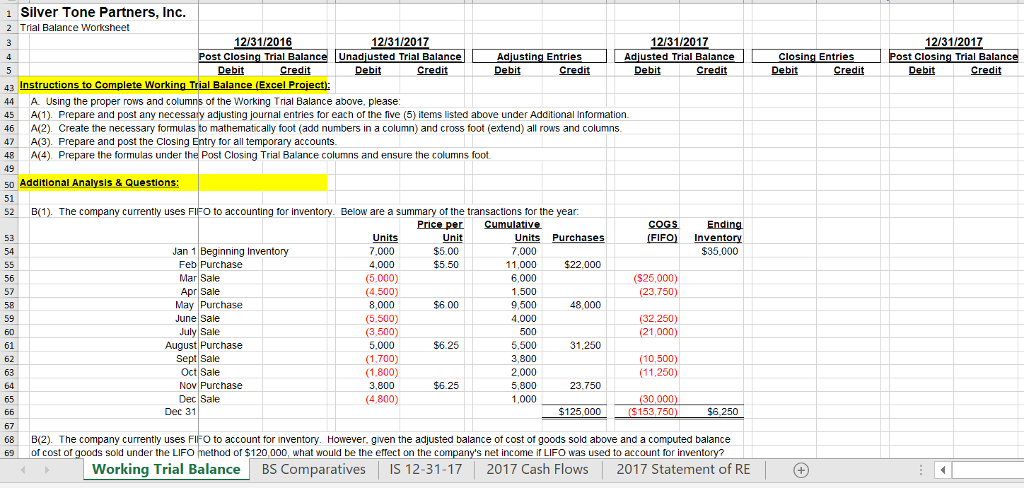 Solved Working Trial Balance Use The Excel Files To Compl
