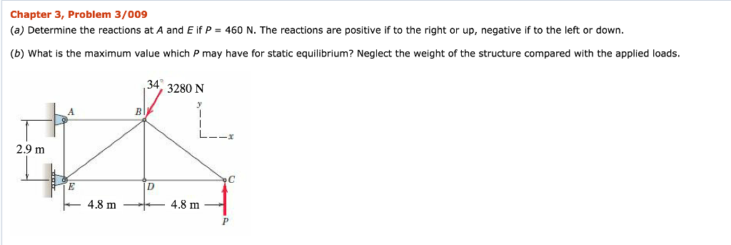 Chapter 3, Problem 3/009 (a) Determine the reactions at A and E if P- 460 N. The reactions are positive if to the right or up, negative if to the left or down. (b) What is the maximum value which P may have for static equilibrium? Neglect the weight of the structure compared with the applied loads. 34 2 3280 N 2.9 m 4.8 mー·トー4.8 m
