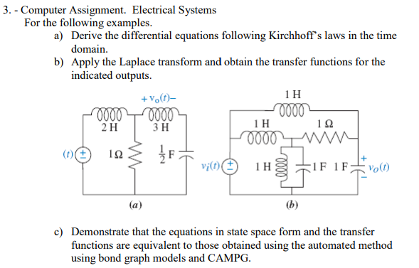Solved Computer Assignment Electrical Systems For The