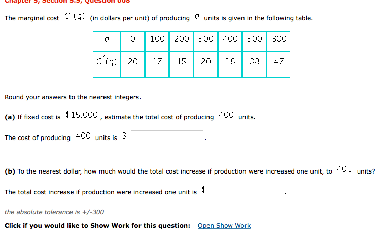 Solved: The Marginal Cost () (in Dollars Per Unit) Of Prod