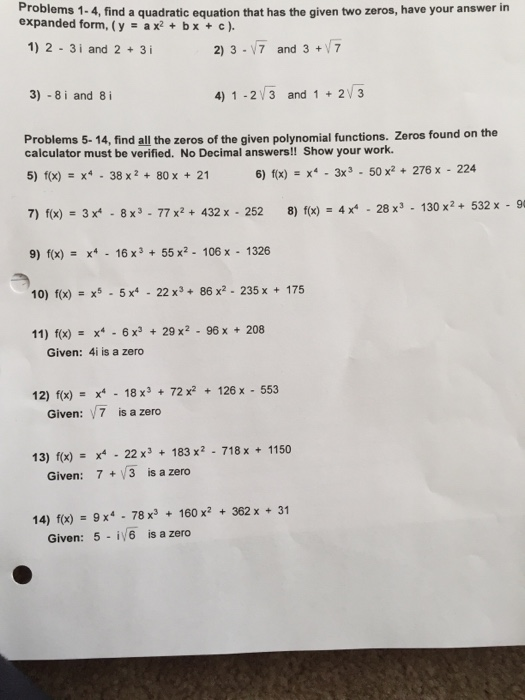 expanded form quadratic equation  Solved: Find A Quadratic Equation That Has The Given Two Z ...
