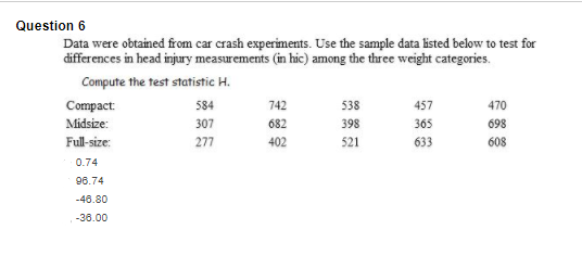 Solved: Question 6 Data Were Obtained From Car Crash Exper