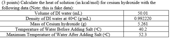 Solved: (3 Points) Calculate The Heat Of Solution (in Kcal