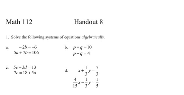 Solved: Solve The Following Systems Of Equations Algebraic