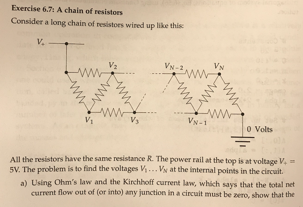 Solved: Exercise 6.7: A Chain Of Resistors Consider A Long ...