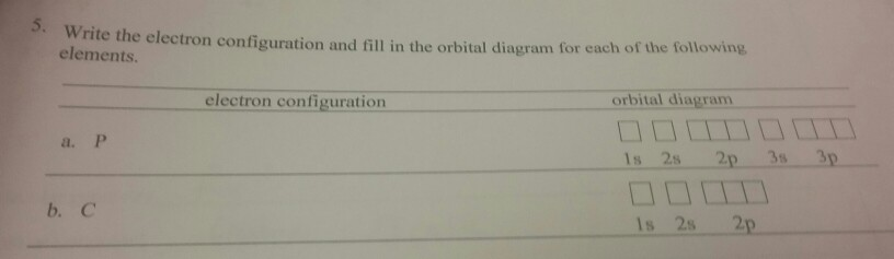 Solved Write The Electron Configuration And Fill In The O