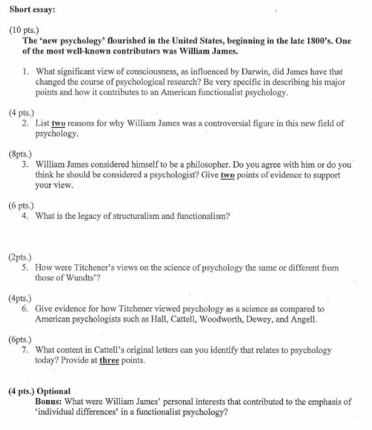 Solved Short Essay  Pts The New Psychology Flouri  Question Short Essay  Pts The New Psychology Flourished In The  United States Beginning In The Lat