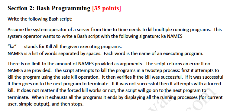 Solved: Section 2: Bash Programming [35 Points] Write The