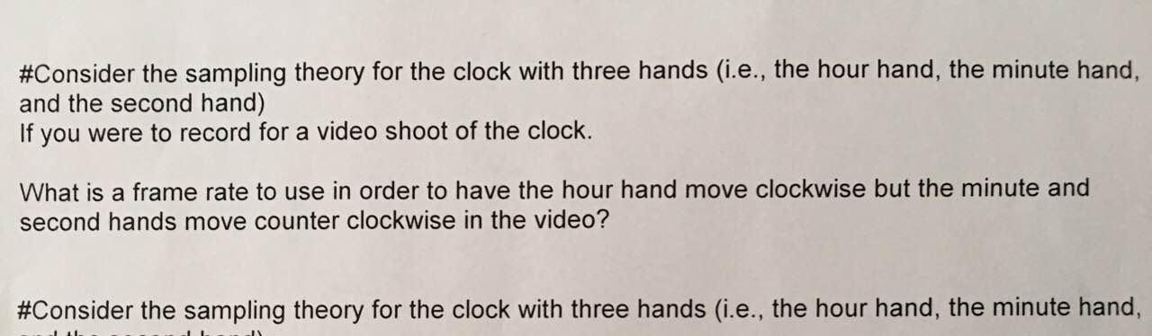 Consider The Sampling Theory For The Clock With Th