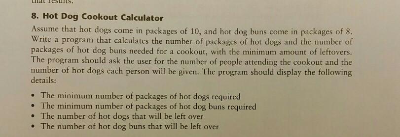 Python Hot Dog Cookout Calculator Program